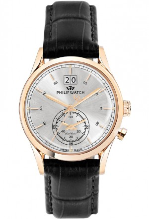 Orologio Philip Watch Sunray Uomo Dual Time Cassa Rose Datario R8251180008