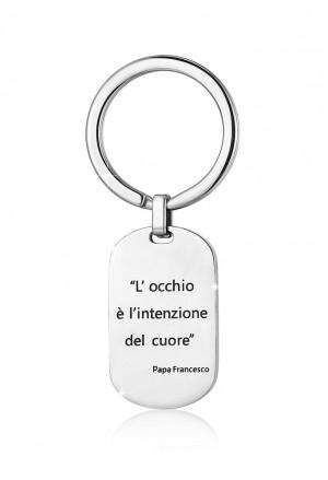 Portachiavi Luca Barra Occhio Intenzione Cuore Frase Papa Francesco Acciaio PK199