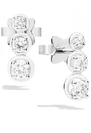Orecchini Recarlo Trilogy 3 Pietre Modello Bianca Diamanti Naturali Oro 18kt Donna E23TS364/030