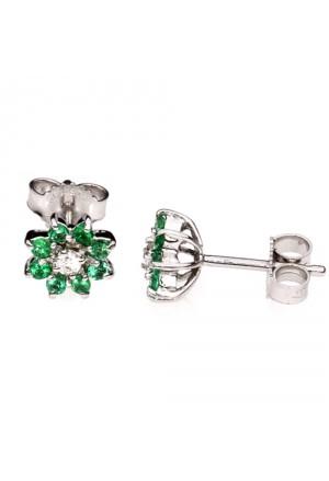 Orecchini Fiore Oro Bianco 18kt Diamanti Smeraldi Demetra 329.499.S08