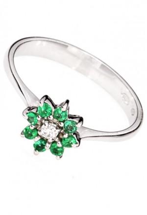 Anello Fiore Oro Bianco 18kt Diamanti Smeraldi Demetra 319.399.S04