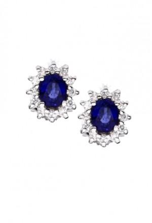 Orecchini Donna Zaffiro Blu Oro Bianco 18kt Diamanti Naturali Demetra 129.090.Z24