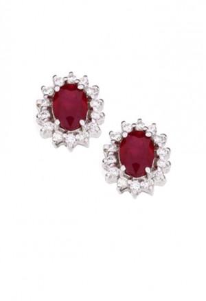 Orecchini Donna Rubino Rosso Oro Bianco 18kt Diamanti Naturali Demetra 129.110.R24