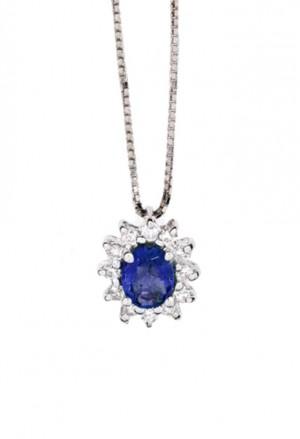 Collana Donna Zaffiro Blu Oro 18kt Diamanti Naturali Demetra 139.045.Z12
