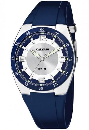 Orologio Da Lavoro Calypso Uomo Impermeabile Solo Tempo Blu Quadrante Bianco K5753/2