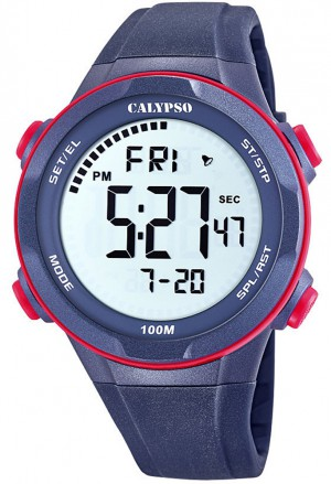 Orologio Calypso Uomo Digitale Crono Allarme Blu K5780/4