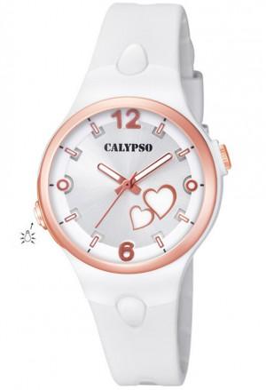 Orologio Calypso Lady Quadrante Cuori Luminosi Bianco Gomma 10ATM K5746/1