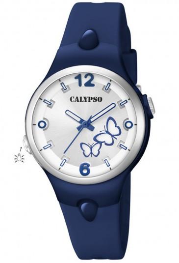 Orologio Calypso Lady Quadrante Farfalle Luminosi Blu Gomma K5747/6