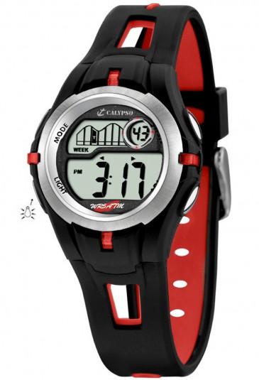 Orologio Calypso Bambino Kids Digitale Cronografo Allarme Nero Rosso Gomma K5506/1