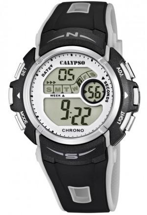 Orologio Calypso Digitale Cronografo Illuminazione Allarma Calendario Cinturino Grigio K5610/8