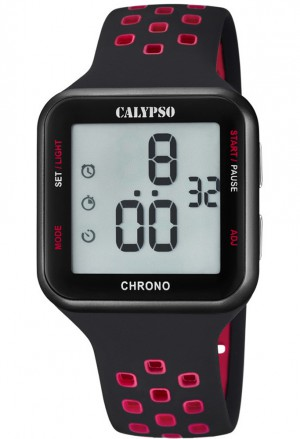 Orologio Calypso Digitale Cronografo Illuminazione Allarme Calendario Cinturino Nero Rosso K5748/5