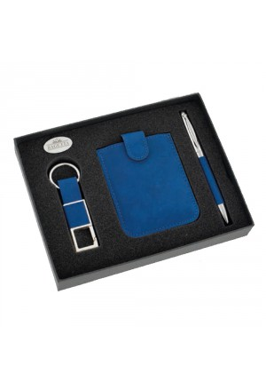 Kit Uomo Penna Sfera Portachiavi Portacards Colore Blu 43QJXFM