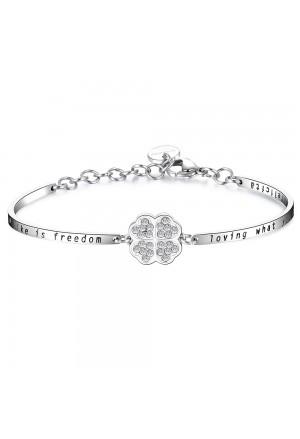 Bracciale Brosway Chakra Quadrifoglio Significato Fortuna Cristalli Acciaio Donna BHK158