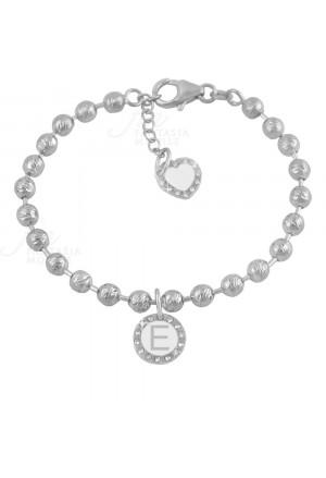 Bracciale Dvccio My Charms Silver Beads Iniziale Lettera A Smalto Bianco GSJM3FM