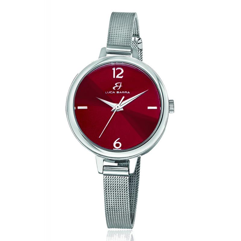 a basso prezzo 30852 7dc49 Orologio Luca Barra Quadrante Rosso Scuro Maglia Milano Acciaio BW220