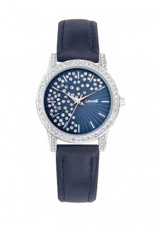 Orologio Lowell Donna Acciaio Quadrante Blu Cristalli Cinturino Pelle PL5192-0323