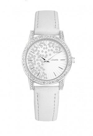 Orologio Lowell Donna Acciaio Quadrante Bianco Cristalli Cinturino Pelle PL5192-0121