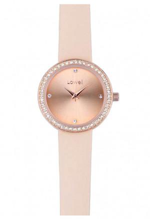 Orologio Lowell Donna Quadrante Rosa Cipria Cristalli Cinturino Pelle PL5180-5528