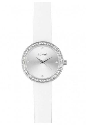 Orologio Lowell Donna Quadrante Silver Cipria Cristalli Cinturino Pelle Bianco PL5180-0121