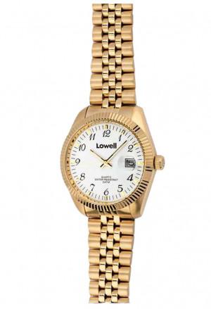 Orologio Lowell Donna Lavoro Quadrante Bianco Datario Acciaio Dorato Numeri Classic PL4800-61