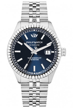 Orologio Philip Watch Automatico Uomo Modello Caribe Solo Tempo Datario Quadrante Blu R8223597011