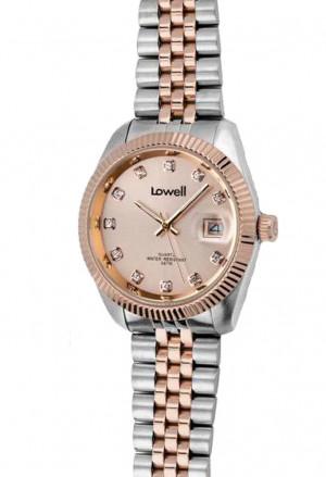 Orologio Lowell Donna Lavoro Quadrante Con Cristalli Datario Acciaio Rosa Classic Misura Medium PL4600-28X