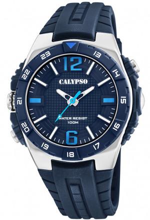 Orologio Calypso Uomo Solo Tempo Resistente 10ATM Illuminazione Gomma Colore Blu K5778/3