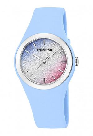 Orologio Calypso Lady Quadrante Glitter Cinturino Celeste K5754/4
