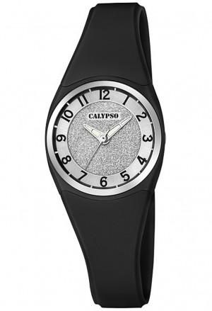 Orologio Calypso Lady Quadrante Glitter Impermeabile 10ATM Cinturino Nero K5752/6