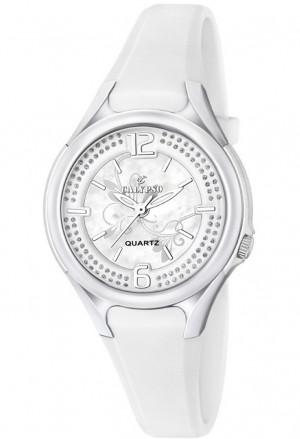 Orologio Calypso Lady Kids Impermeabile 10ATM Quadrante Cristalli Cinturino Gomma Bianco K5575/1