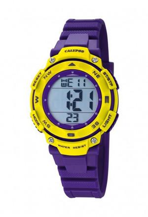 Orologio Calypso Digitale Dual Time Illuminazione Cronometro Allarme Resistente 10ATM Colore Giallo Viola K5669/8