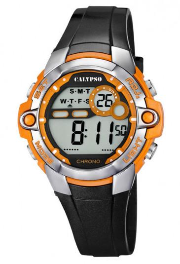 Orologio Calypso Digitale Dual Time Illuminazione Cronometro Allarme Resistente 10ATM Colore Arancione K5617/4