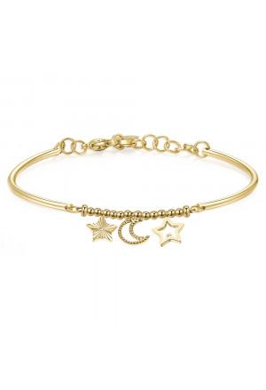 Bracciale Brosway Chakra Pendenti Simboli Stella Luna Acciaio Gold Coraggio BHK297