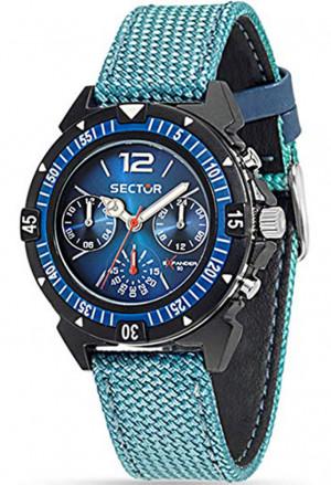 Orologio Sector Uomo Expander 90 Multifunzione Cinturino Cordura Azzurro R3251197048