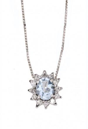 Collana Punto Luce Acquamarina Oro 18kt Diamanti Naturali Demetra 138.389.A12