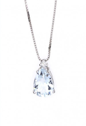 Collana Punto Luce Acquamarina Oro 18kt Diamanti Naturali Demetra 038.249.O02