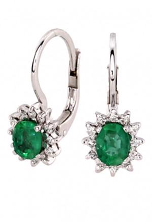 Orecchini Pendenti Donna Smeraldo Verde Oro Bianco 18kt Diamanti Naturali Demetra 129M.799.524