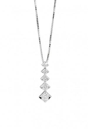 Collana Recarlo Punto Luce Collezione Face Cube Diamante Naturale Oro 18kt Donna P39PD002/042-45