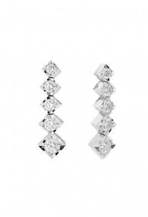 Orecchini Recarlo Punto Luce Diamanti Naturali Oro Bianco 18kt Modello Face Cube Donna E39PD002/039