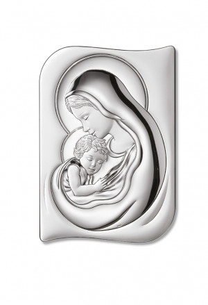 Quadro Sacro Madonna Con Bambino Argento Bilamina Legno Dimensione 18x24 Regalo Nozze Sovrani B2655
