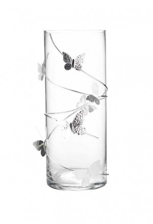 Vaso Vetro Farfalle Argentate Design Sovrani 20453