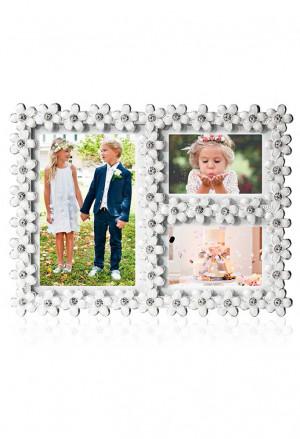 Cornice Portafoto Multifoto Tre Foto Applicazione Fiori Smaltati Cristalli Dimensione 19X14 Acca Z.3 PFM