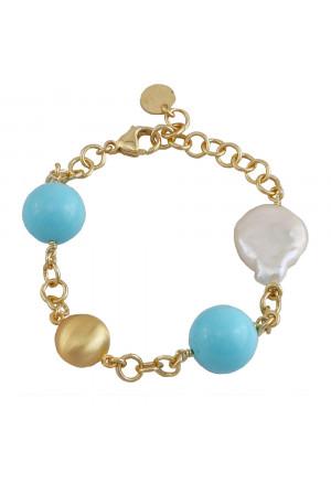 Bracciale Aquaforte Argento Gold Perle Fiume Pasta Turchese Donna 9HJU8FM