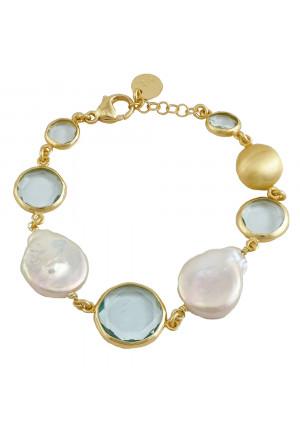 Bracciale Aquaforte Argento Gold Perle Fiume Paste Vitrea Celeste Donna WTLZSFM