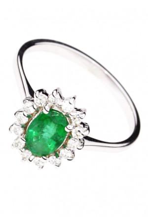Anello Smeraldo Verde Oro Bianco 18kt Diamanti Naturali Demetra 119.080.S21