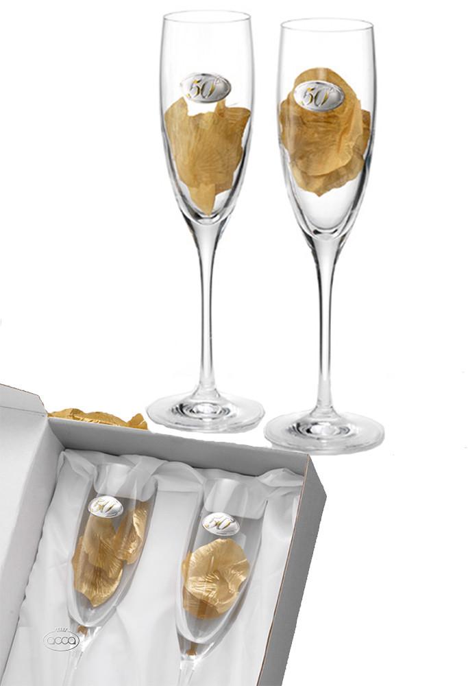 Coppia Bicchieri Nozze Oro Cristallo Logo 50 Anni Matrimonio Acca