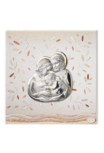 Quadro Sacra Famiglia Argento Legno Misura 15X15 Acca 119CL.3