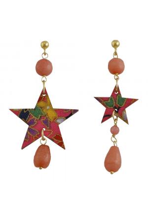 Orecchini Lebole Tanabata Stelle Pietre Rosa Sfaccettate Argento Seta 5BBAEFM
