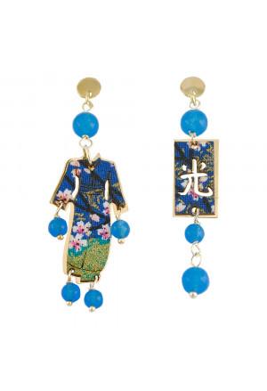 Orecchini Lebole Kimono Mini Argento Pietre Azzurre Seta DM44NFM
