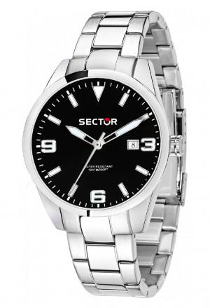 Orologio Sector Uomo Modello 245 Solo Tempo Datario Quadrante Nero Acciaio Silver R3253486006